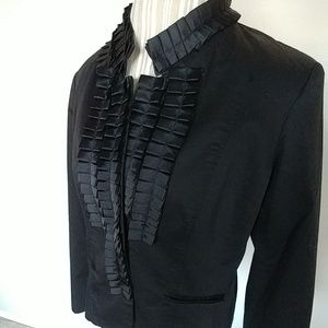 Kenar Black Ruffle Front Button Up Tuxedo Jacket
